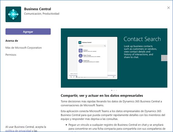 Integración Business Central y Microsoft Teams